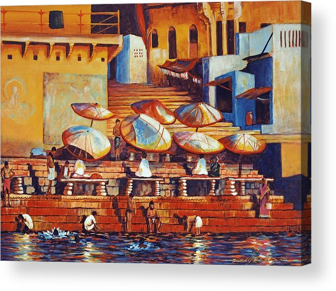 Realist Acrylic Print featuring the painting Golden Ganges by Art Nomad Sandra Hansen