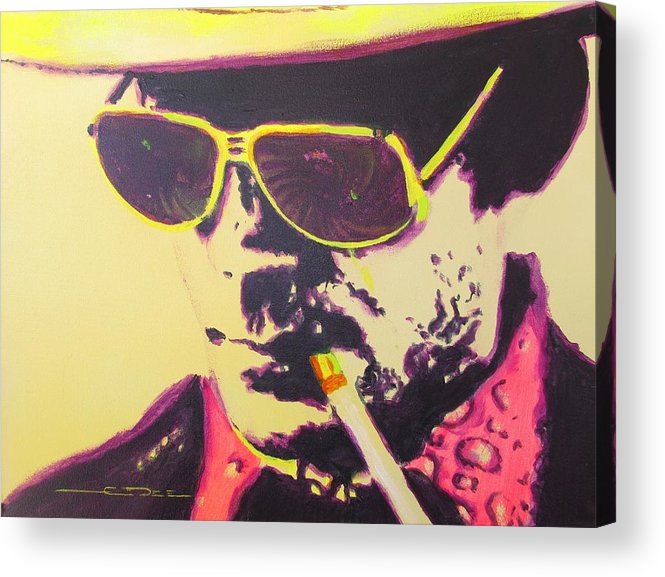 Hunter S. Thompson Acrylic Print featuring the painting Gonzo - Hunter S. Thompson by Eric Dee