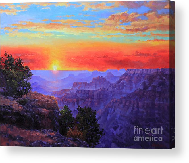 Grand Canyon Acrylic Print featuring the painting Grand Canyon Sunset by Gary Kim