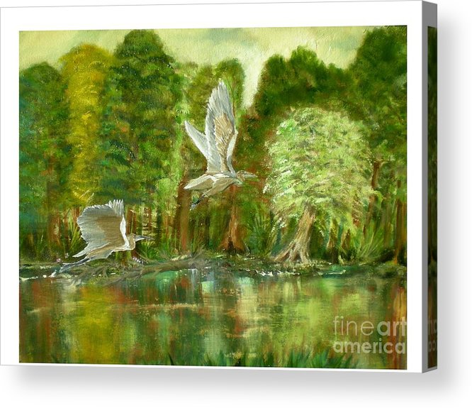 River Scene Acrylic Print featuring the painting Great Blue Herons by Hal Newhouser