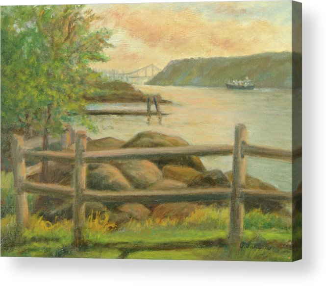 George Washington Bridge Acrylic Print featuring the painting GWB from Hastings by Phyllis Tarlow