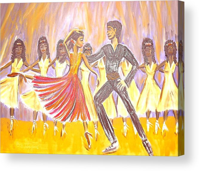 Dancers Acrylic Print featuring the painting Harlem Dance Troop by BJ Abrams