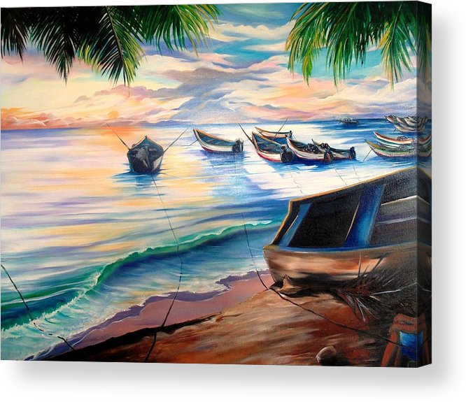 Ocean Painting Caribbean Painting Seascape Painting Beach Painting Fishing Boats Painting Sunset Painting Blue Palm Trees Fisherman Trinidad And Tobago Painting Tropical Painting Acrylic Print featuring the painting Home From The Sea by Karin Dawn Kelshall- Best
