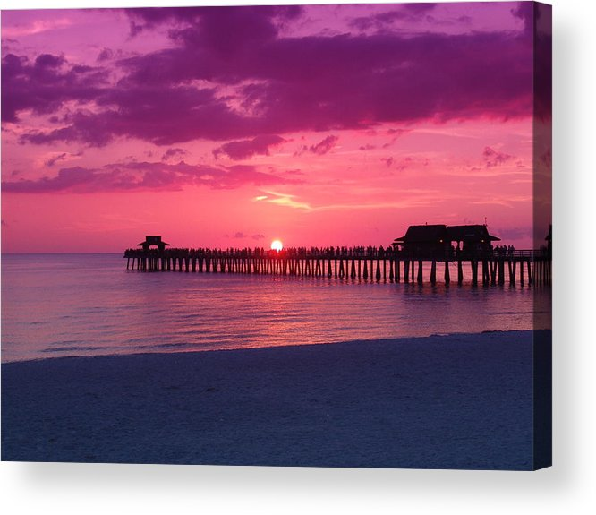 Sunset Acrylic Print featuring the photograph Hot Purple by Florene Welebny