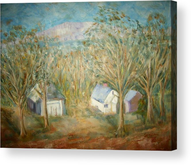 Landscape Mountain Trees Buildings Acrylic Print featuring the painting House with overlooking mountain by Joseph Sandora Jr