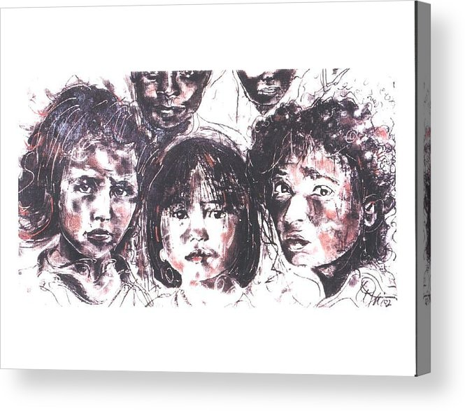 Children Acrylic Print featuring the drawing I see the future... by Lynn Gray