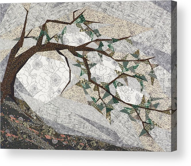 Tree Acrylic Print featuring the tapestry - textile Krummholz by Linda Beach