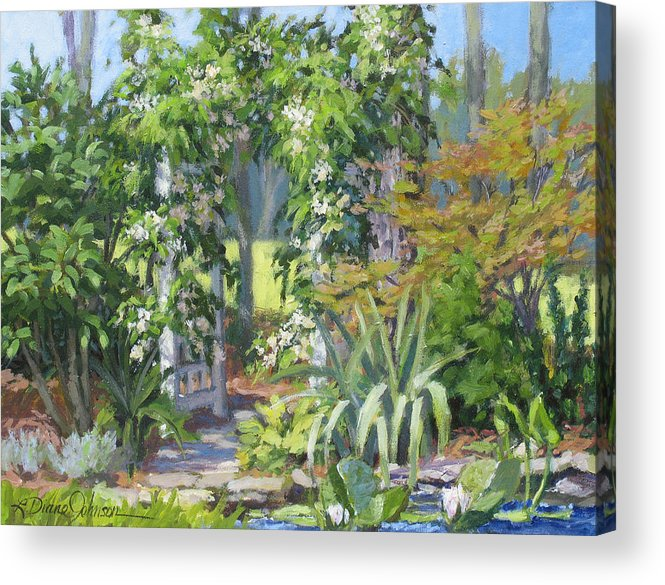 Lush Garden Arbor Acrylic Print featuring the painting Labor Of Love by L Diane Johnson