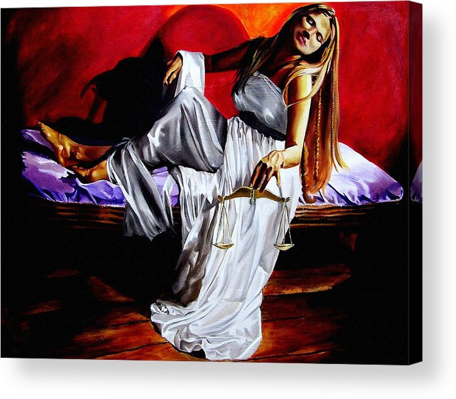 Law Art Acrylic Print featuring the painting Lady Justice by Laura Pierre-Louis