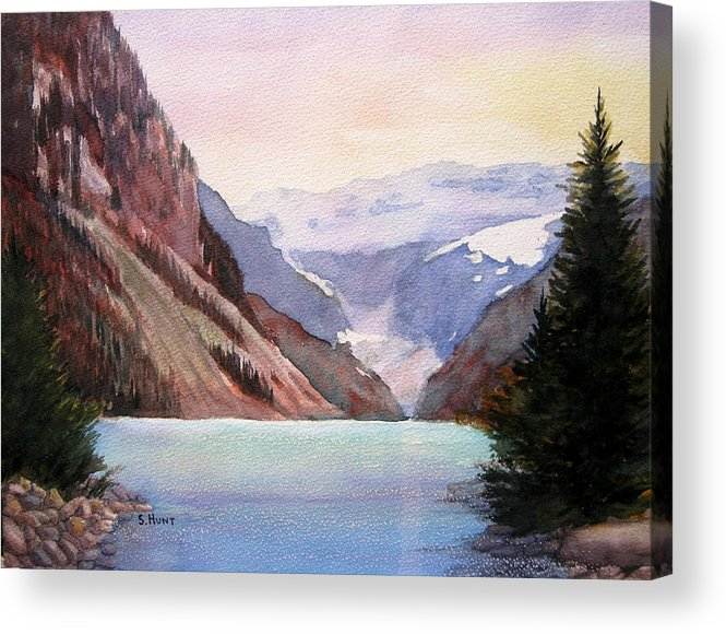 Landscape Acrylic Print featuring the painting Lake Louise by Shirley Braithwaite Hunt