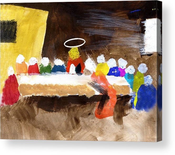 Jesus Acrylic Print featuring the mixed media LastSupper by Curtis J Neeley Jr