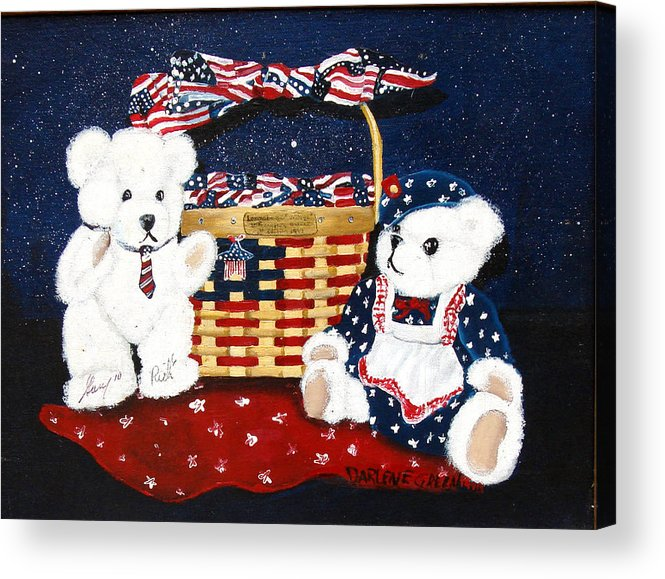 Teddy Bears Acrylic Print featuring the painting Let us celebrate by Darlene Green