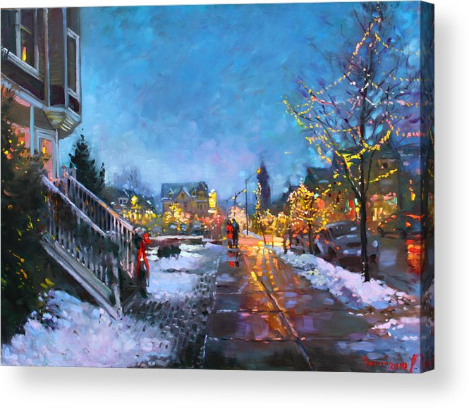 Christmas Lights Acrylic Print featuring the painting Lights on Elmwood Ave by Ylli Haruni