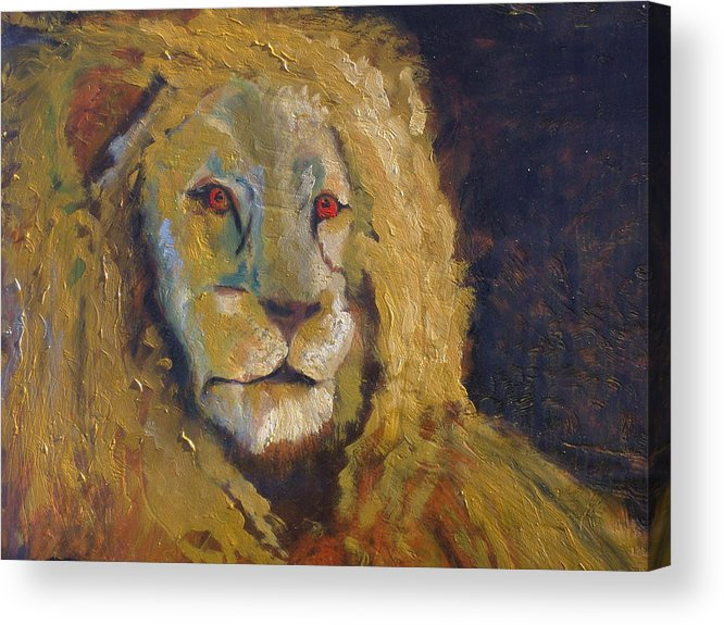 Lion Acrylic Print featuring the painting Lion two by J Bauer