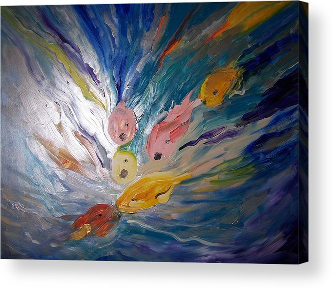 Fish Acrylic Print featuring the painting Love Crazed Coi by Katerina Wagner