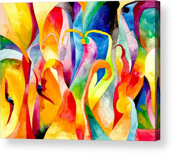 Swans Acrylic Print featuring the painting Magical Swans by Peter Shor