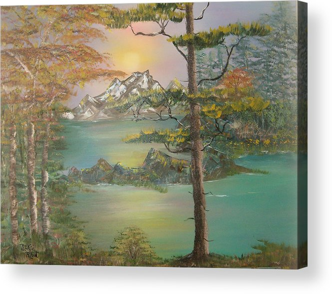 Landscape Acrylic Print featuring the painting Majestic Cove by Mikki Alhart