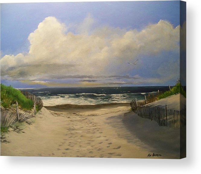 Beac Acrylic Print featuring the painting Mary's Beach by Ken Ahlering