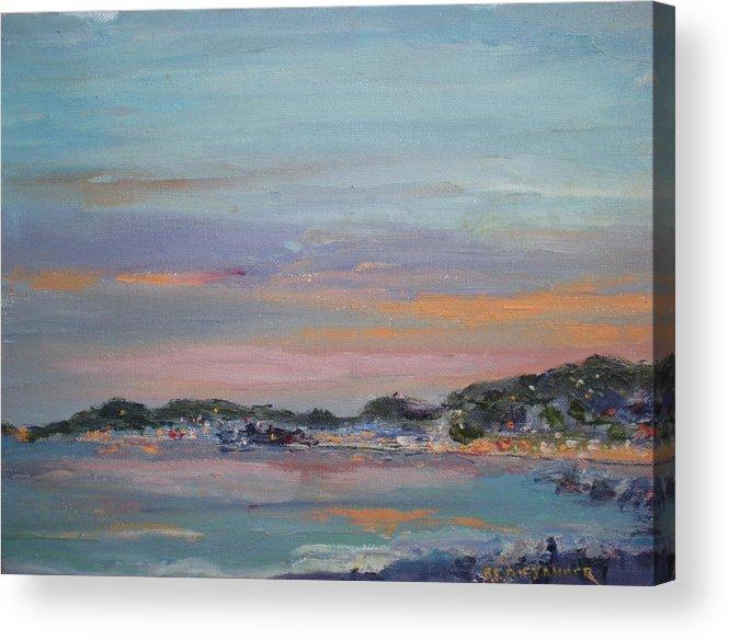 Sea Dusk Sunset Twilight Acrylic Print featuring the painting Mediterranean At Dusk Nice France by Bryan Alexander