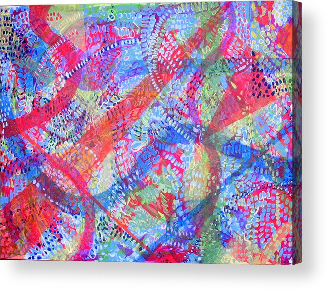 Dots Acrylic Print featuring the painting Microcosm II by Rollin Kocsis