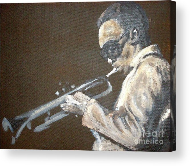 Miles Davis Acrylic Print featuring the painting Miles I by Pete Maier