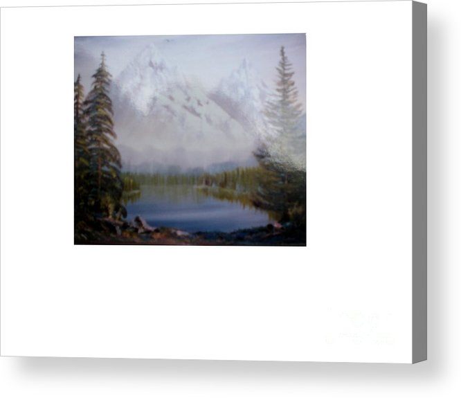 Landscape Acrylic Print featuring the painting Misty Peaks by Hal Newhouser