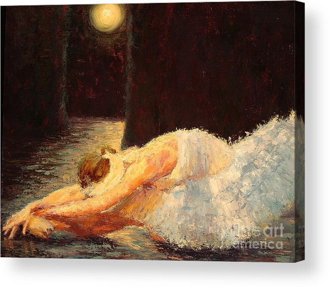 Ballerina (framed) Acrylic Print featuring the painting Moonlight Ballet by Colleen Murphy