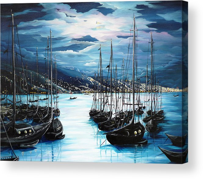 Ocean Painting  Caribbean Seascape Painting Moonlight Painting Yachts Painting Marina Moonlight Port Of Spain Trinidad And Tobago Painting Greeting Card Painting Acrylic Print featuring the painting Moonlight Over Port Of Spain by Karin Dawn Kelshall- Best