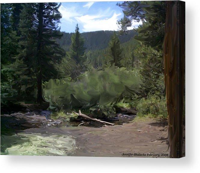 Mountain Stream Acrylic Print featuring the digital art Mountain Stream by Jennifer Skalecke