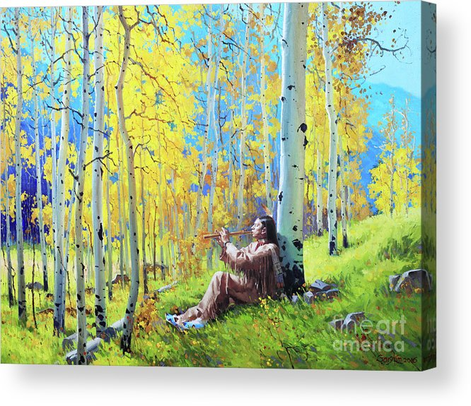 Native American Flute Aspen Native Indian Flute Fall Aspen Trees Birch Garykim Oil Print Art Nature Scenes Healing Grove Patient Santa Fe Fall Trees Mountain Season Beautiful Beauty Yellow Red Orange Fall Leaves Foliage Autumn Leaf Color Mountain Oil Painting Original Art Horizontal Landscape National Park Morning Nature Wallpaper Outdoor Panoramic Peaceful Scenic Sky Travel Vacation Season Bright Autumn National Park America Clouds Landscape Natural Painting Oil Original Vibrant Texture Bluesky Acrylic Print featuring the painting Native Spirit by Gary Kim