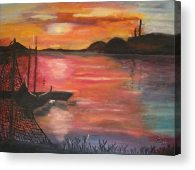 Seascape Acrylic Print featuring the painting Natures Glory by Mikki Alhart