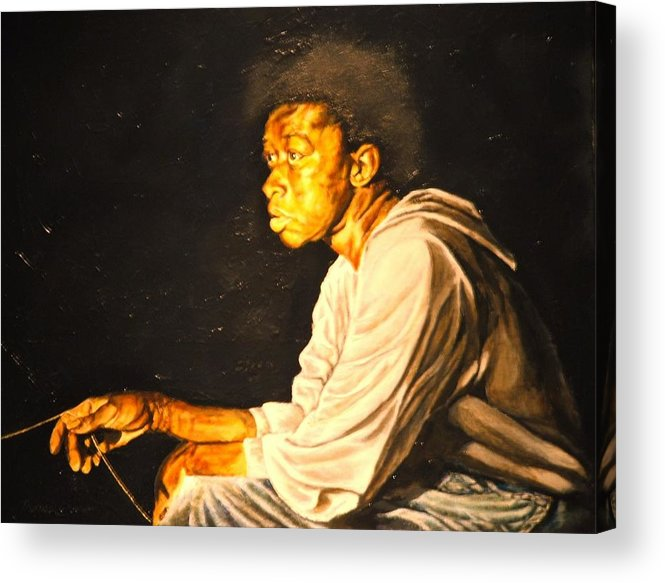 Night Scene Acrylic Print featuring the painting Night Fisher by Thomas Akers