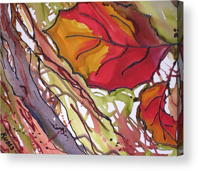 Leaf Acrylic Print featuring the mixed media OctoberSecond by Susan Kubes