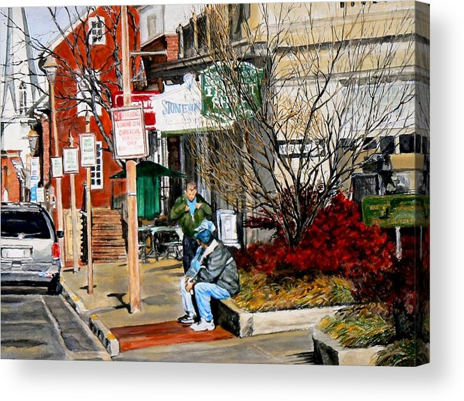 City Scene Acrylic Print featuring the painting Oil Stains and Red Nandina by Thomas Akers