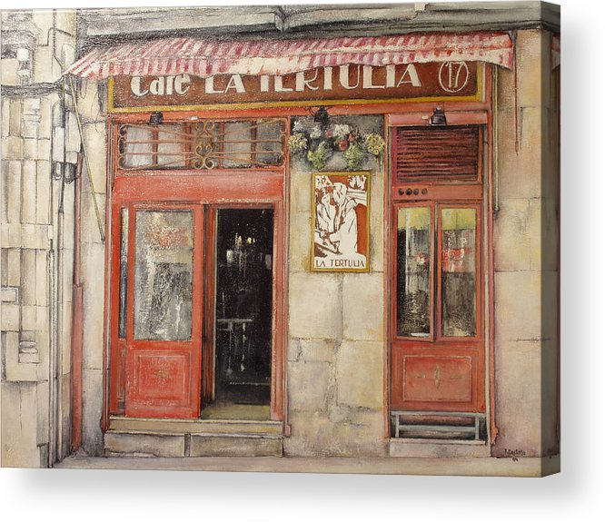 Cafe Acrylic Print featuring the painting Old Cafe- Santander Spain by Tomas Castano