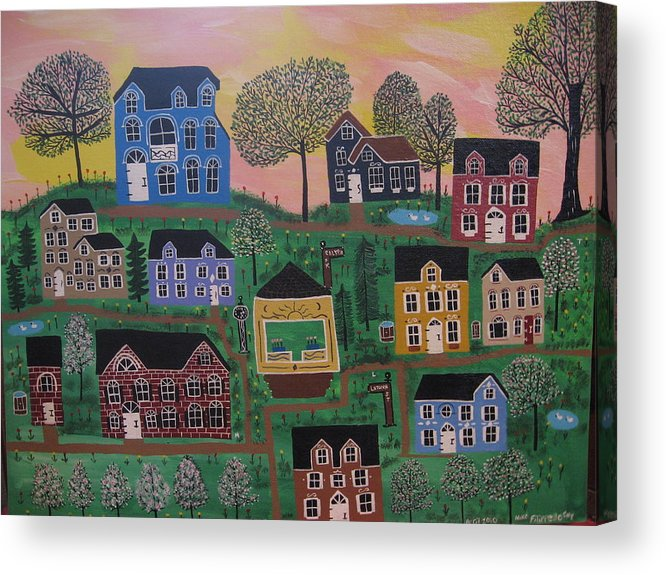 Landscape Acrylic Print featuring the painting Olenalanthe Park- The Dream of Days to Come by Mike Filippello