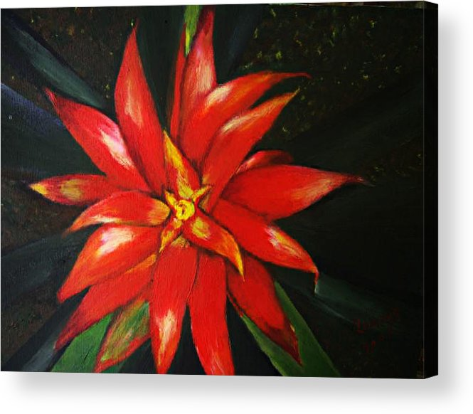 Floral Acrylic Print featuring the painting Orange blossom by Julie Lamons