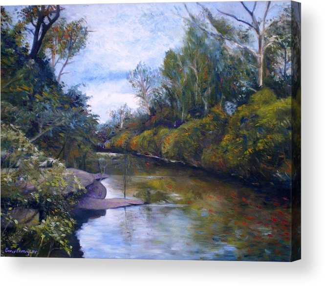 Impressionism Acrylic Print featuring the painting Orara River Nsw Australia 1995  by Enver Larney