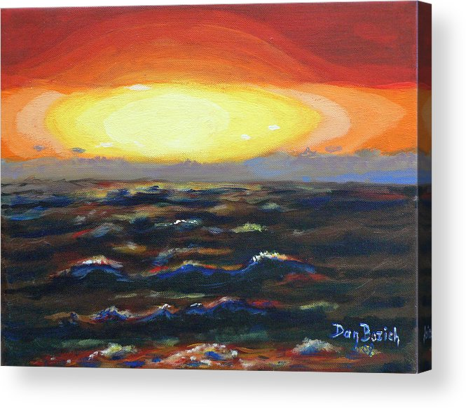 Setting Sun Acrylic Print featuring the painting Pacific Sunset by Dan Bozich