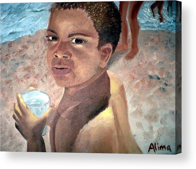 Portrait Acrylic Print featuring the painting Papa at the Beach by Alima Newton