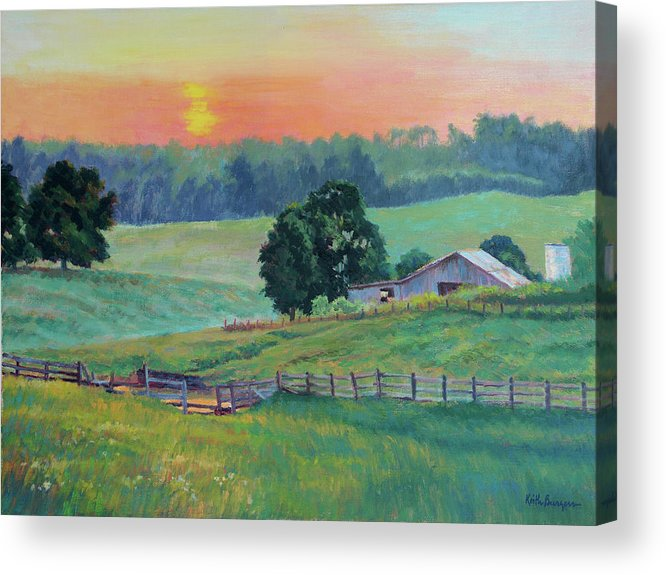 Impressionism Acrylic Print featuring the painting Pastoral Sunset by Keith Burgess