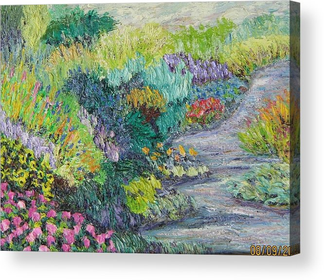 Flowers Acrylic Print featuring the painting Pathway Of Flowers by Richard Nowak