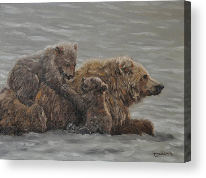 Bella Coola Grizzly Acrylic Print featuring the painting Patience by Tahirih Goffic