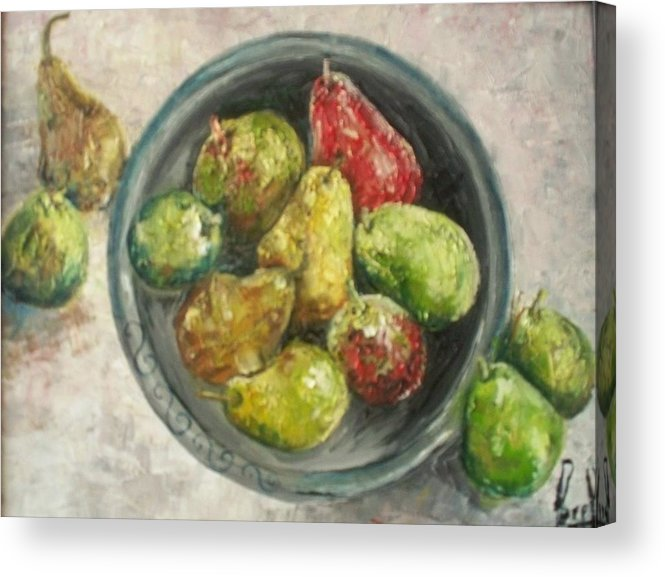 Acrylic Print featuring the painting Pears in bowl by Carol P Kingsley
