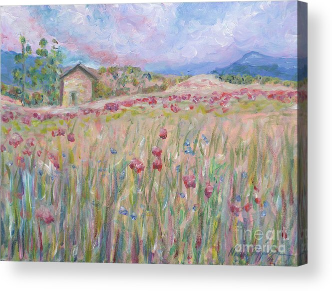 Pink Acrylic Print featuring the painting Pink Poppy Field by Nadine Rippelmeyer
