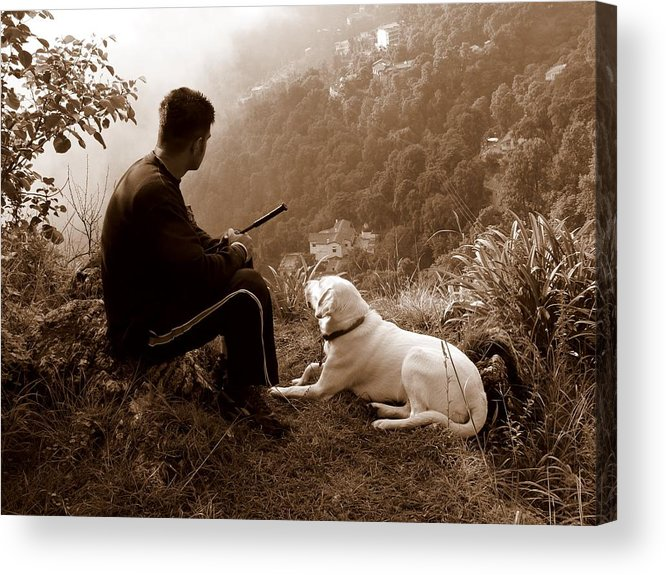 Dog Acrylic Print featuring the photograph Piton and Bruno by Padamvir Singh