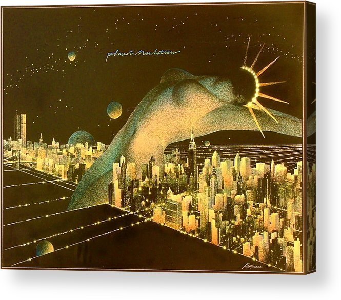 Female Acrylic Print featuring the painting Planet Manhattan by Gary Kaemmer