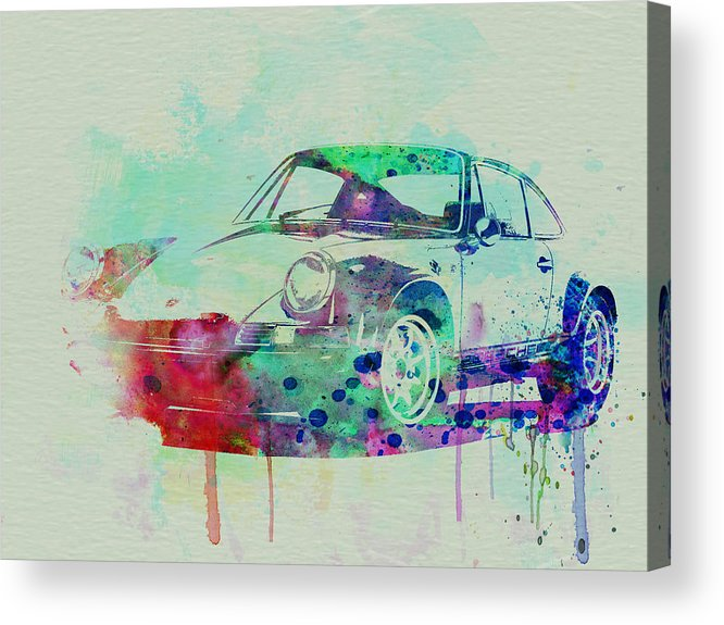 Porsche 911 Acrylic Print featuring the painting Porsche 911 Watercolor 2 by Naxart Studio