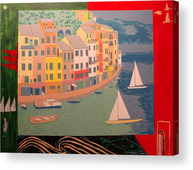Acrylic Print featuring the painting Portofino with birds by Biagio Civale