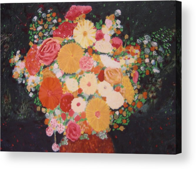 Acrylic Print featuring the painting Pot with flowers by Biagio Civale
